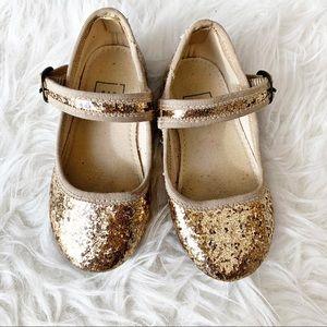 GAP Gold Glitter Mary Janes